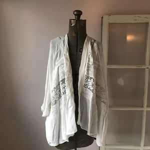 Elevenses Anthropologie White Lace Open Cardigan